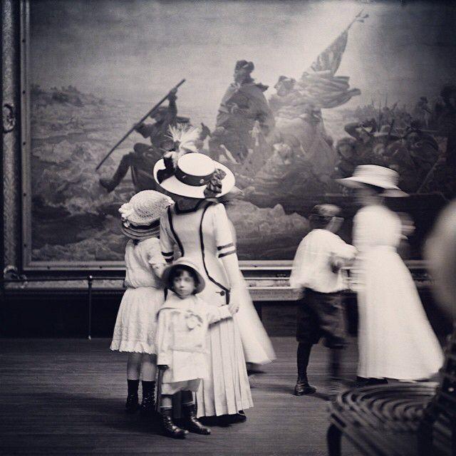 "Emanuel Leutze's ""Washington Crossing the Delaware"" and mueseum visitors in 1910. Seen on @metmuseum on Instagram."
